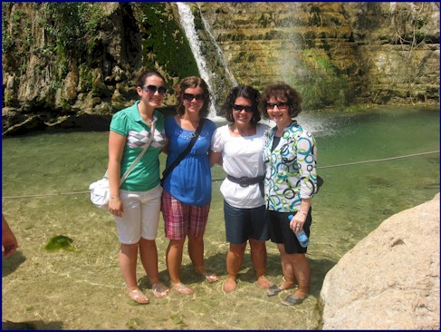 Girls - Waterfall at En Gedi
